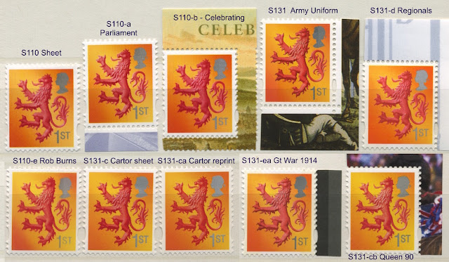 Scotland 1st class lion stamp - 10 different
