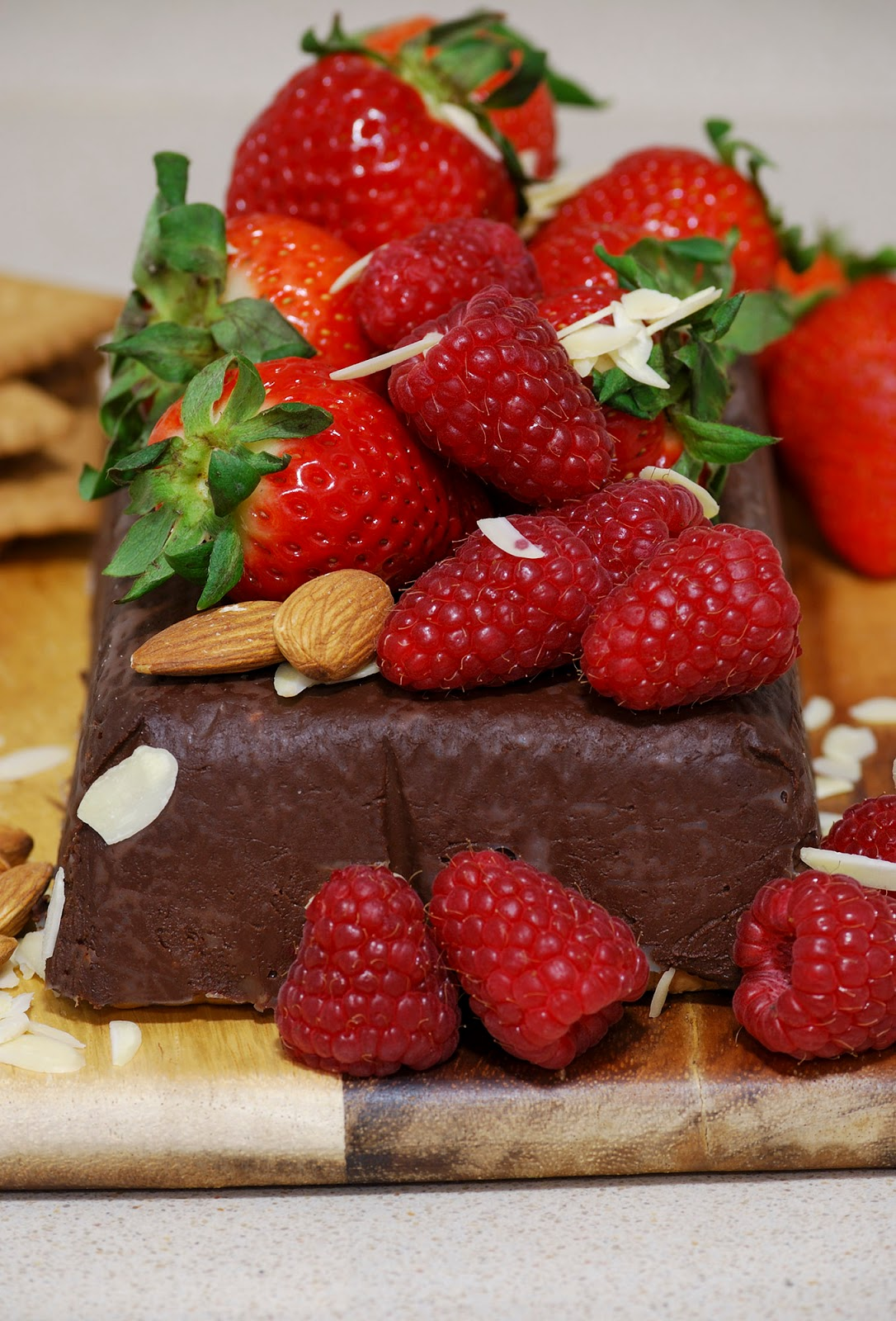 chocolate biscuit birthday cake strawberry berry almonds