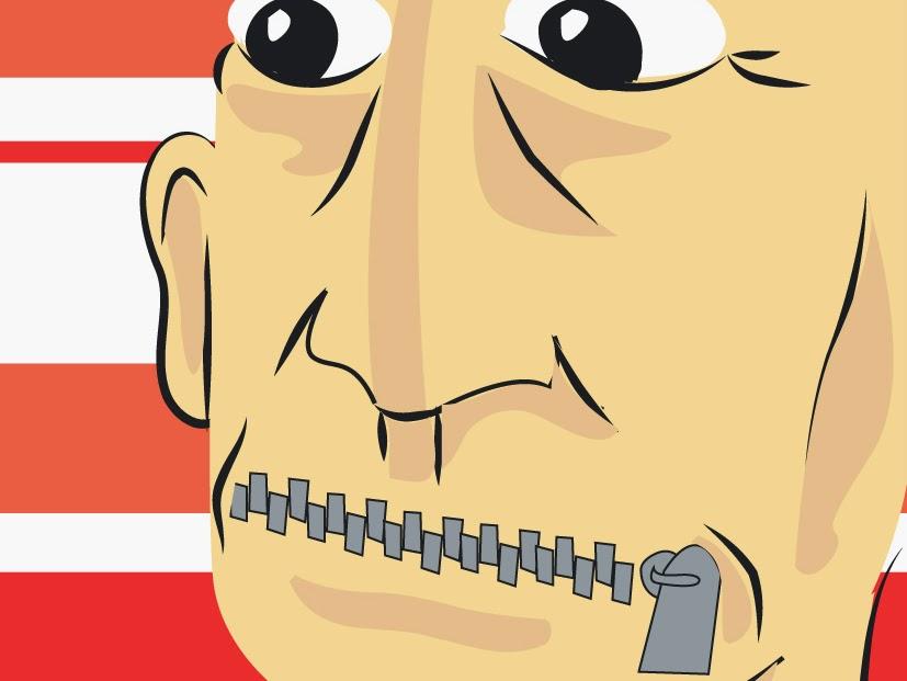 Ilustração de lucas pacífico representando um homem de olhos bem abertos e com a boca fechada a zíper, direto de frases de Sun Tzu e d'A Arte da Guerra.