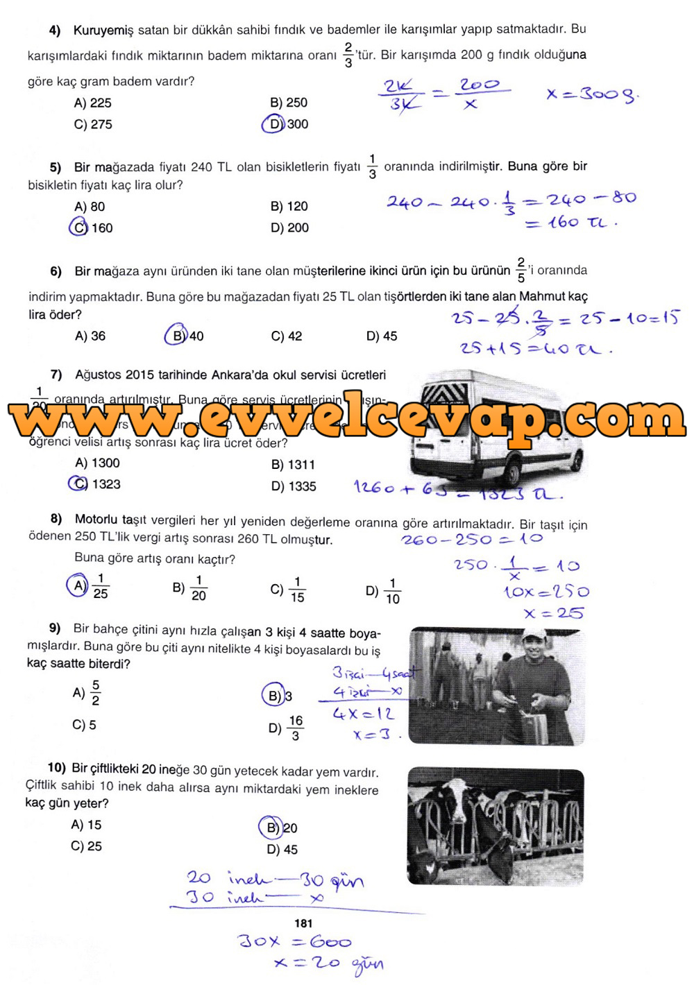 7. Sınıf Gizem Yayınları Matematik Ders Kitabı 181. Sayfa Cevapları 3. Ünite Değerlendirme Çalışmaları