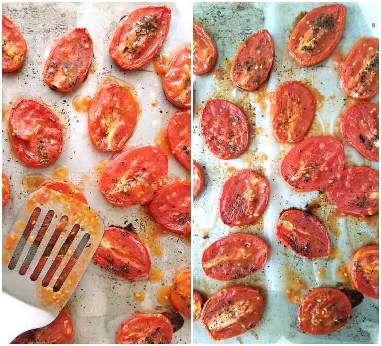 Los tomates se aplastan con una espátula para acelerar el secado