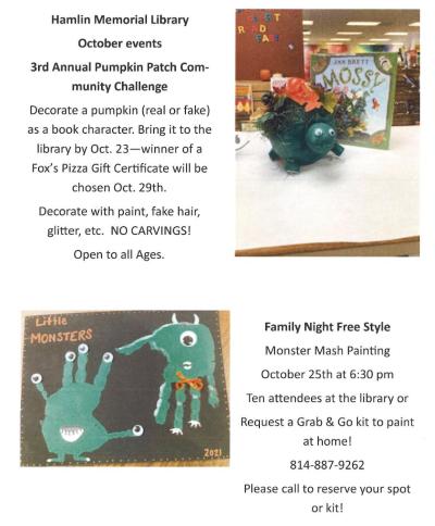 Hamlin Memorial Library October Events