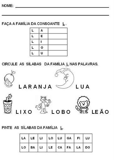 Atividades De Alfabetizacao Com A Letra L So Escola