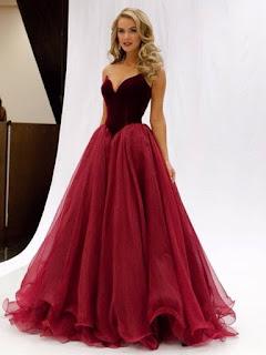 Princess V-neck Burgundy Organza Floor-length Ruffles Famous Prom Dresses