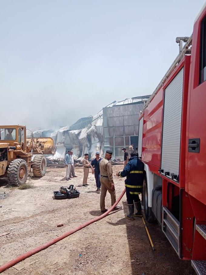 حريق داخل مخزن في البصرة والدفاع المدني يتدخل