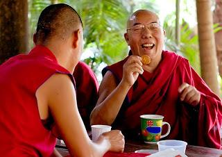 Buddhists telling jokes