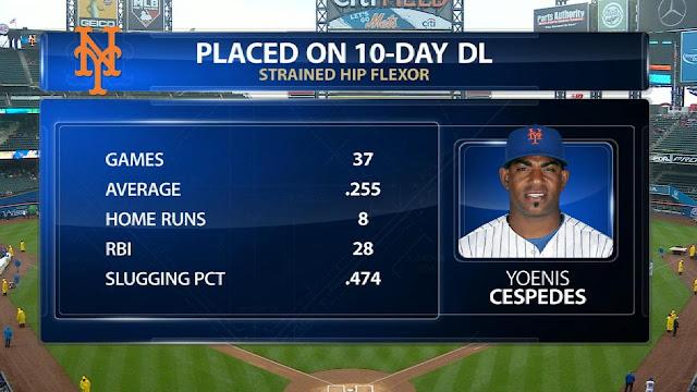 El slugger de los Mets se lastimó durante un juego del 6 de mayo, sin embargo, posteriormente, se fue de 15-5