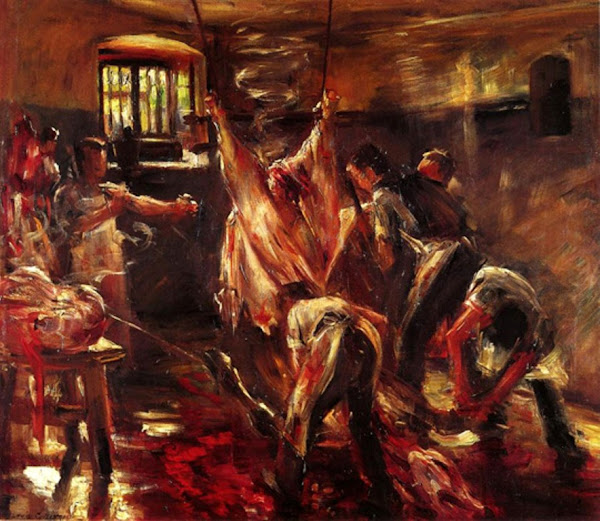 In the Slaughter House by Corinth Lovis, Macabre Art, Macabre Paintings, Horror Paintings, Freak Art, Freak Paintings, Horror Picture, Terror Pictures