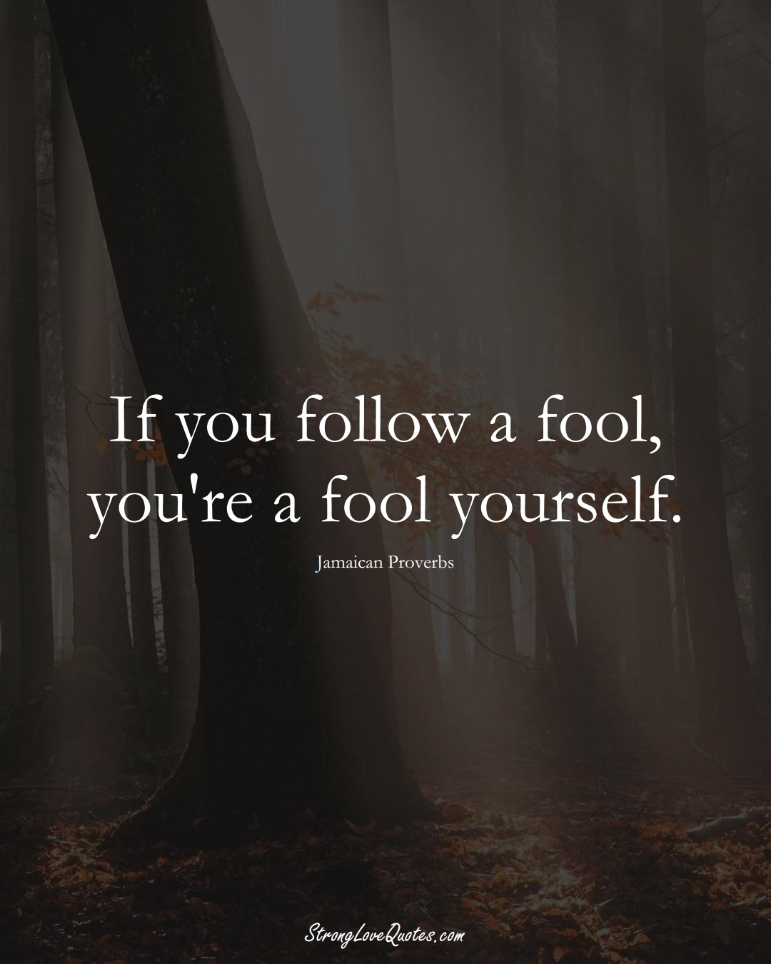 If you follow a fool, you're a fool yourself. (Jamaican Sayings);  #CaribbeanSayings