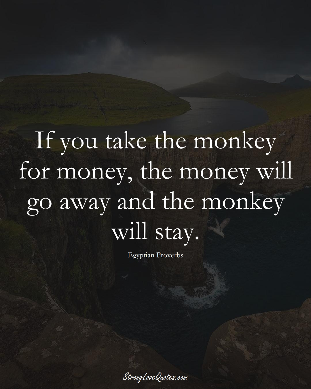 If you take the monkey for money, the money will go away and the monkey will stay. (Egyptian Sayings);  #MiddleEasternSayings