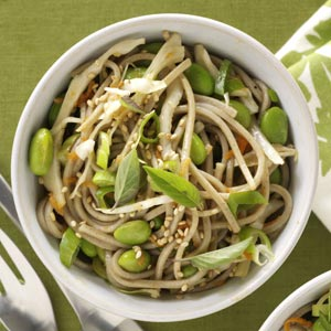 Soba Salad with Sesame Ginger Dressing! Soba noodles (buckwheat or whole wheat linguine) tossed with a Sesame Ginger Dressing.