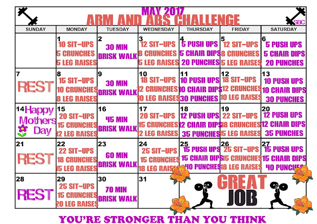 May Fitness Challenge Calendar to workout arms, abs, abdominal muscles while doing your Skinny Fiber 90 Day Challenge, Skinny Body Max