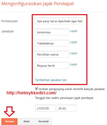 Cara menambahkan widget survey diblog1