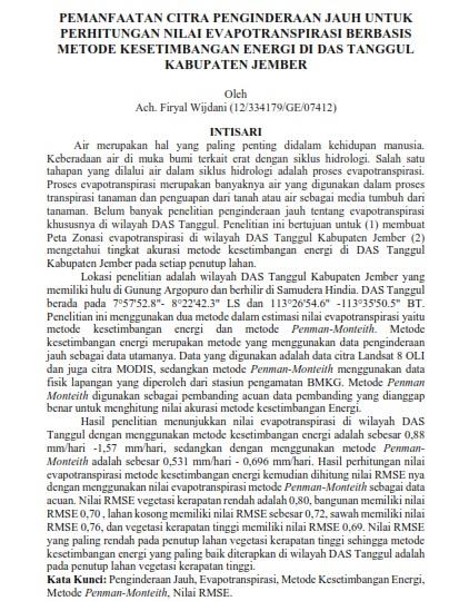 Pemanfaatan Citra Penginderaan Jauh Untuk Perhitungan Nilai Evapotranspirasi [PAPER]