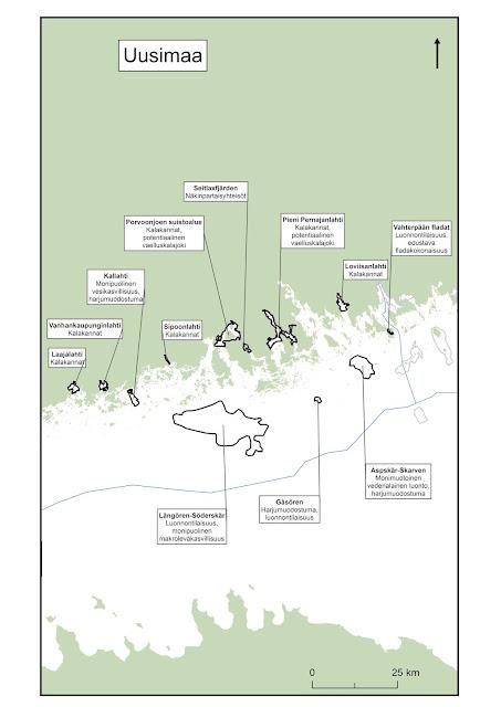 Kartta, johon on piirretty keskisen Suomenlahden EMMA-alueet