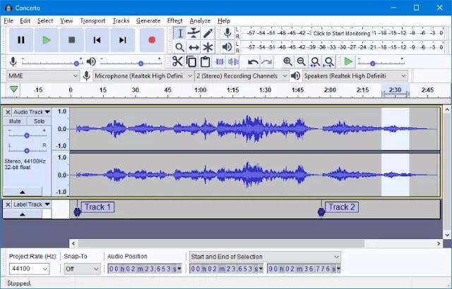 Audacity - multi-track audio editor