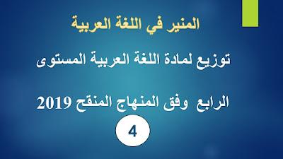 توزيع لمادة اللغة العربية المستوى الرابع  وفق المنهاج المنقح 2019