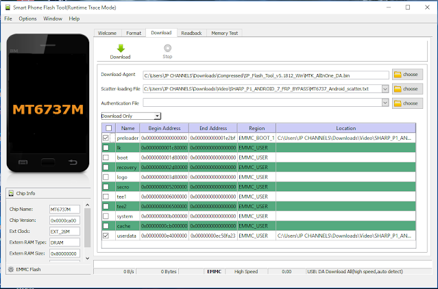 BYPASS FRP SHARP Pi IF9007 ANDROID 7 BY FLASHTOOL