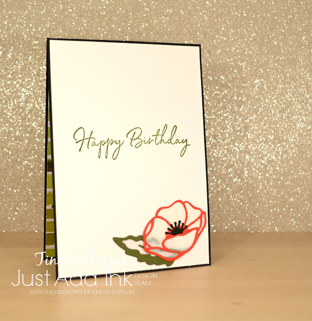 scissorspapercard, Stampin' Up!, Just Add Ink, Poppy Moments Dies, Painted Labels Dies, Layered Leaves Embossing Folder,  Peaceful Poppies DSP, Happy Birthday Too You, Sale-A-Bration