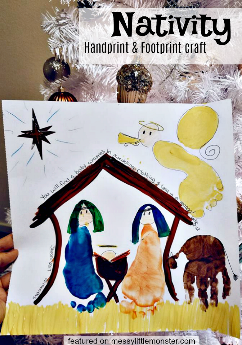 Nativity handprint and footprint craft for kids. An easy Christmas activity and keepsake for babies, toddlers and preschoolers. Complete a nativity scene inspired by a passage from the bible.