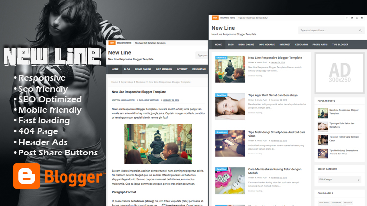 New Line Pro Responsive Blogger Template