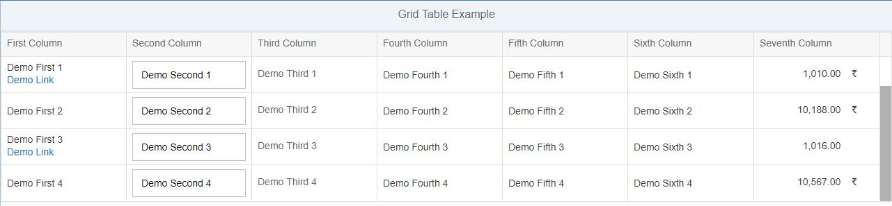 Sapui5 Grid Table