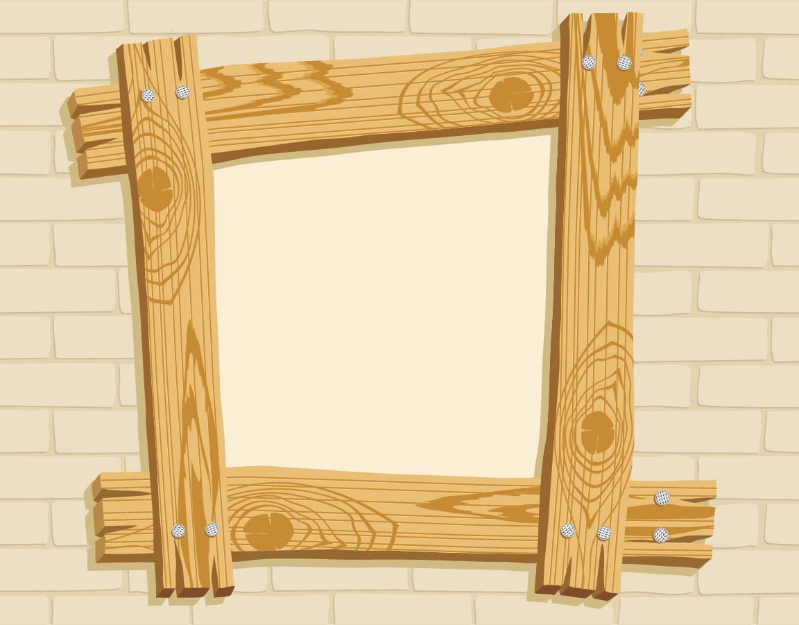 Free Vector がらくた素材庫: お灑落な木製フレーム wooden frame vector ...
