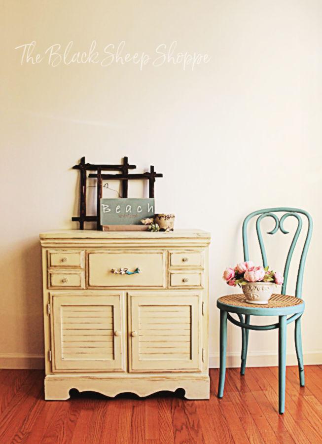 Coastal style storage cabinet.