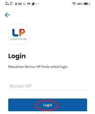 Login Aplikasi Android Leon Pulsa Mobile Top Up