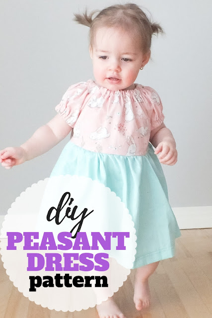 Learn to sew a simple diy peasant dress pattern with this easy sewing tutorial and free PDF pattern in sizes 12 month to 12 years.