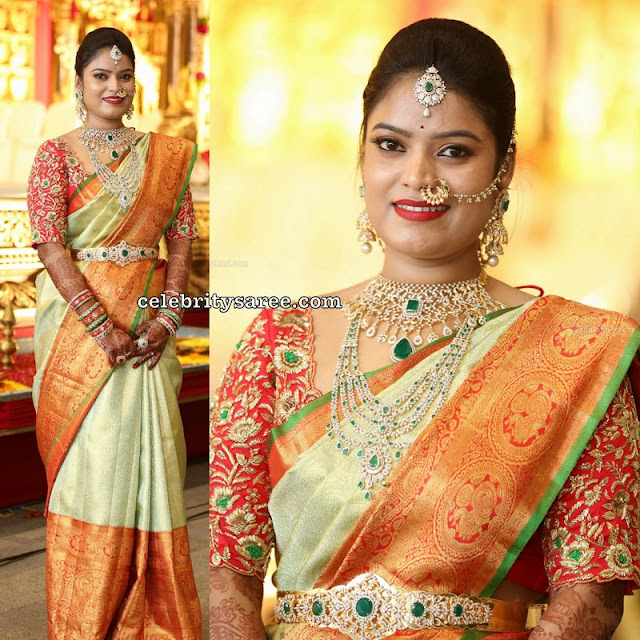 Bride in Pastel Color Saree