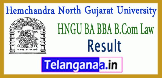 HNGU Hemchandra North Gujarat University UG BA B.Com BBA LAW Exam Result