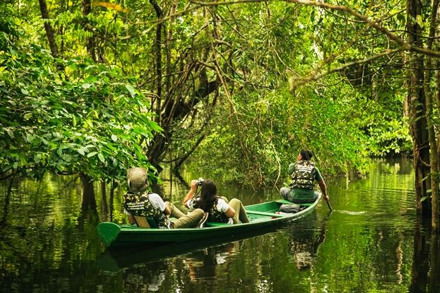 Canoagem pelo rio durante as cheias na Amazônia