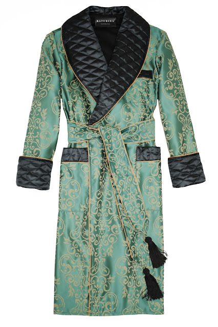 herren hausmantel seide dressing gown edel elegant stilvoll morgenmantel gesteppt gefüttert klassisch englisch