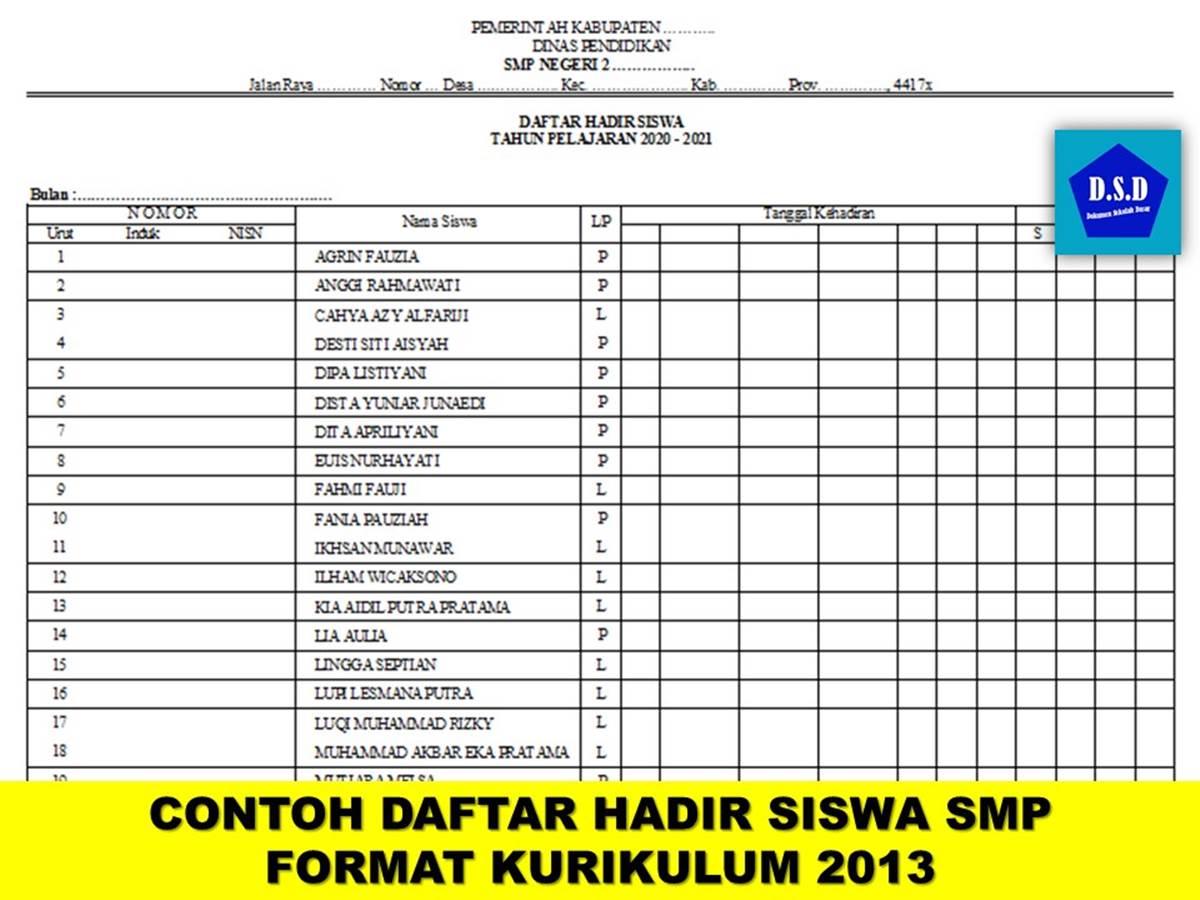 Contoh Daftar Hadir Siswa SMP Format Kurikulum 2013