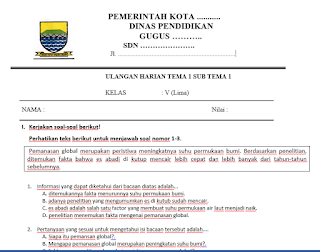 Bank Soal SD Kurtilas Revisi