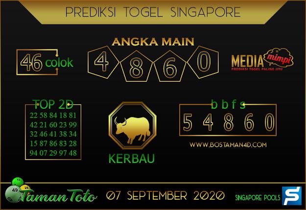 Prediksi Togel SINGAPORE TAMAN TOTO 07 SEPTEMBER 2020