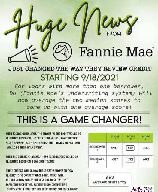 Effective on 9/18/21, Fannie Mae announced that their Automated Underwriting System will now take an AVERAGE of the two scores for qualifying    Fannie Mae announced that their Automated Underwriting System will now take an AVERAGE of the two scores for qualifying Do you and your partner have very different credit scores? Great news!  You may have access to more loan program options than you thought!    Here's the deal... All lenders pull FICO scores from each of the three credit bureaus to qualify a borrower.  In situations with co-applicants, we will use the lower of the two middle scores for qualifying purposes. Historically, to do a Conventional Loan, both mid-scores would have to be above 620. Effective on 9/18/21, Fannie Mae announced that their Automated Underwriting System will now take an AVERAGE of the two scores for qualifying.  This critical change may help many borrowers qualify and have increased advantages when putting an offer in on a home. Long story short - we can help you now more than ever.  Curious if this will help you?  Reach out to me today, and we can investigate. PS: These changes are effective September 18th, 2021 and there are still a lot of other variables to consider and guidelines are always subject to change.  Let's start a conversation today!  Message me for more details or to get started.