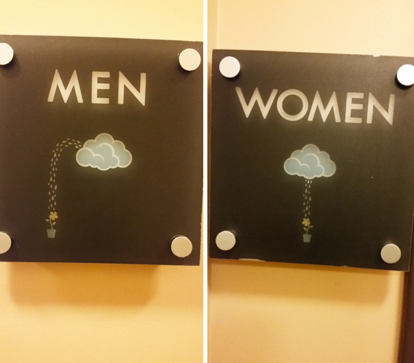 20+ Of The Most Creative Bathroom Signs Ever - Rain Bathroom Signs
