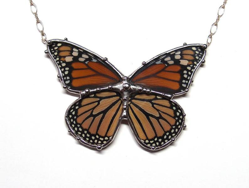 Neile Real Monarch Butterfly Necklace Statement Necklace Wearable Nature Art