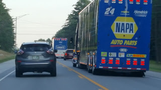 No. 24 NASCAR hauler heading home after the race