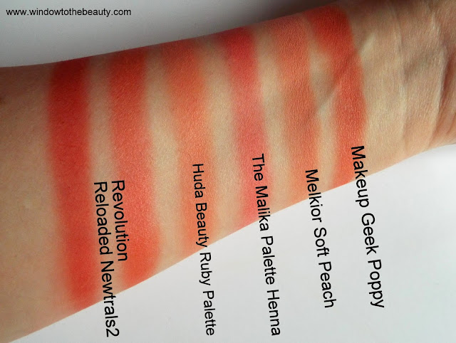 warm peach coral swatches