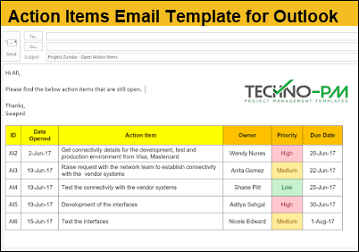 outlook action items, Action Items Email Template for Outlook, action item list template