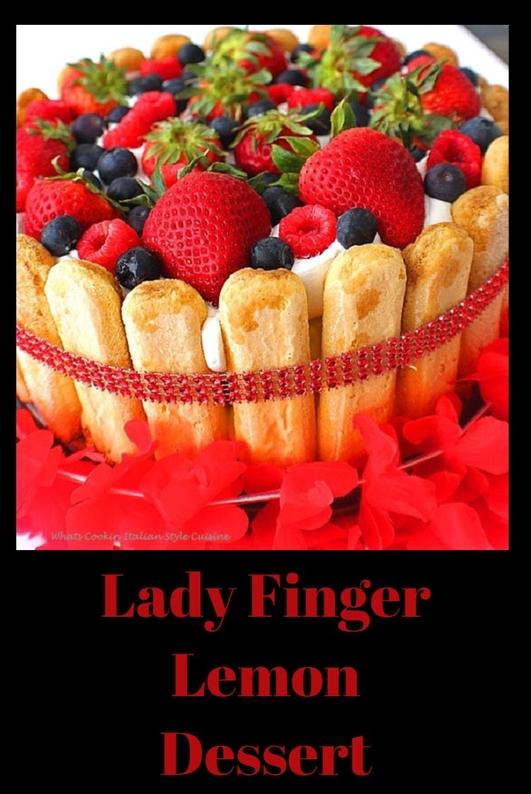 This is a lemon pudding filling pound cake kind of trifle. It's layered with whipped cream, pound cake, lady fingers all around the edging and then topped with strawberries, blueberries , raspberries