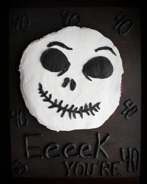 eeeeek you're 40 cake board with finished jack skellington cupcake cake