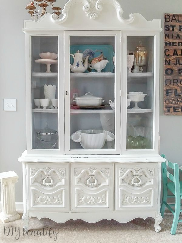 white french country hutch