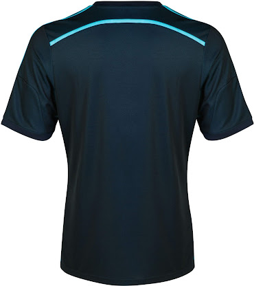 715f7ccf7 The new Chelsea 2014-2015 Third Kit is mainly dark navy with light blue  three Adidas stripes and features a spectacular Soundwave graphic design on  the ...