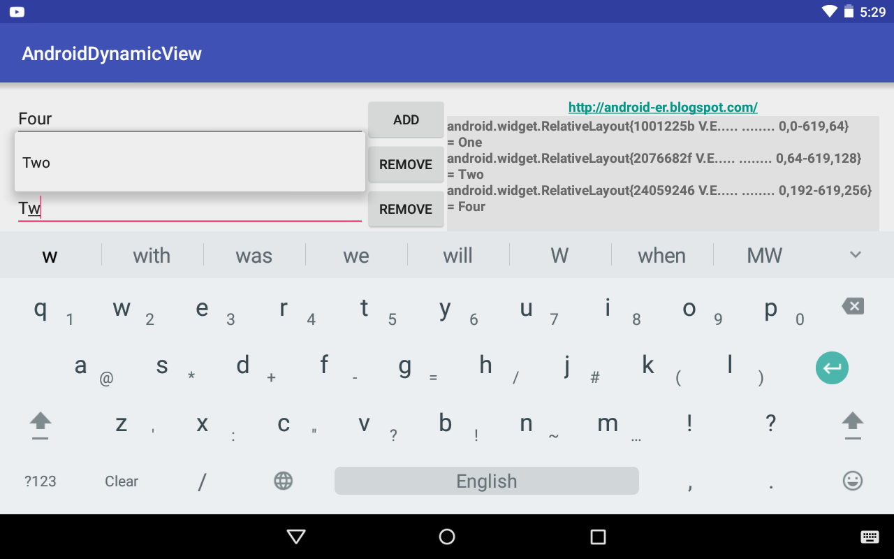 Android-er: Add and Remove view dynamically, with EditText