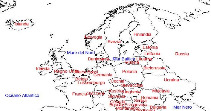 Cartina Fisica Dell Europa Da Colorare.Cartina Italia Fisica Da Colorare