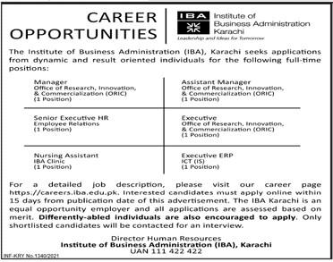 Institute of Business Administration (IBA) Karachi Jobs 2021 in Pakistan
